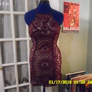 Francesca's maroon crochet lace halter dress XS